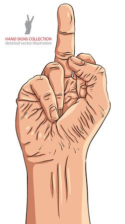 obscene gesture: Middle finger hand sign, detailed vector illustration.