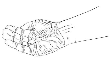 구걸 손, 상세한 검은 색과 흰색 라인 벡터 일러스트 레이 션, 손으로 그린.