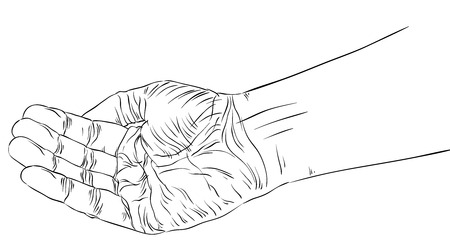 Begging hand, detailed black and white lines vector illustration, hand drawn.