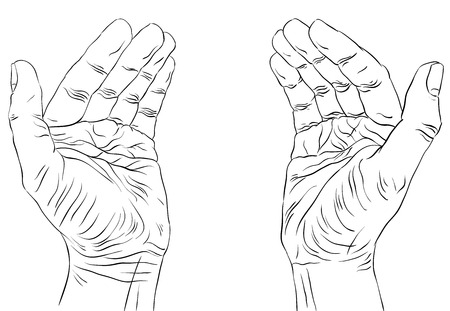 Protecting empty hands with place for some small object, detailed black and white lines vector illustration, hand drawn. Vector