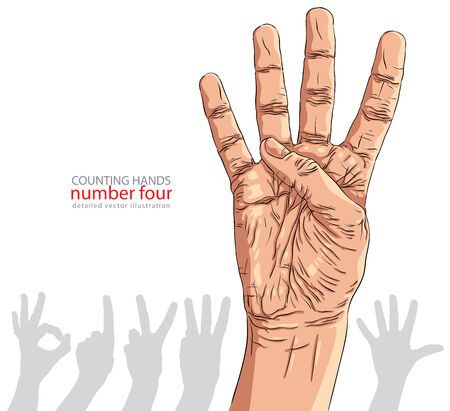Numbers hand signs set, number four, detailed vector illustration. Vector