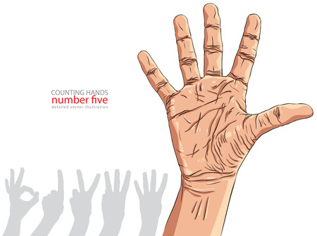 Numbers hand signs set, number five, detailed vector illustration. Vector