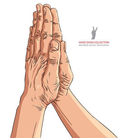 sinner: Praying hands, detailed vector illustration. Illustration