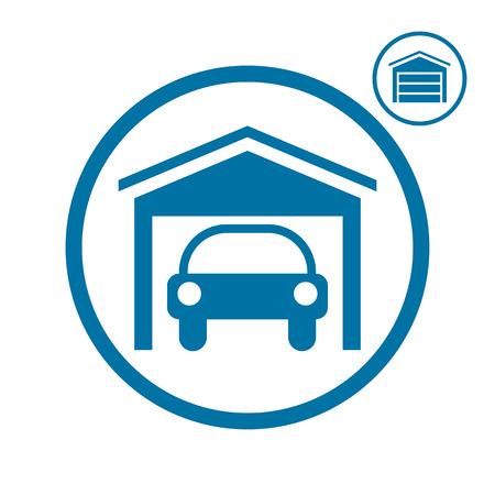 garage on house: Garage with car vector icon. Illustration