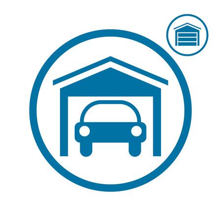 Garage with car vector icon. Vector