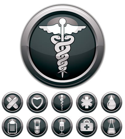 med: Medical icons set, vectors collection. Illustration