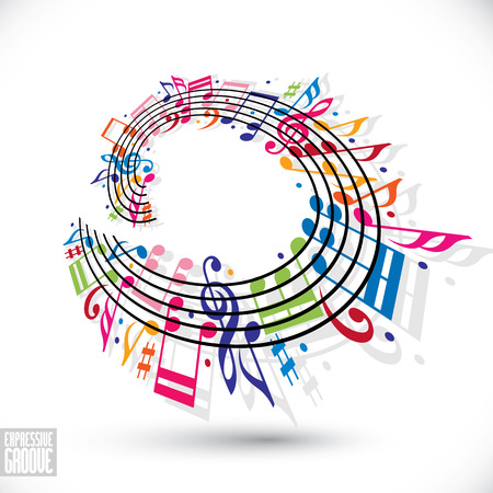 expressive style: Expressive groove concept. Colorful music background with clef and notes, music sheet in rounded frame