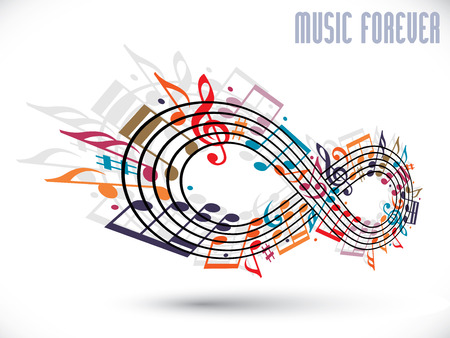 Forever music concept, infinity symbol made with musical notes and treble clef, rotated in 3d, idea for your music theme design. 矢量图像