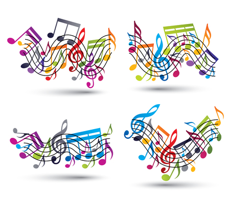 sonata: Musical notes staff set, abstract vector designs set. Illustration