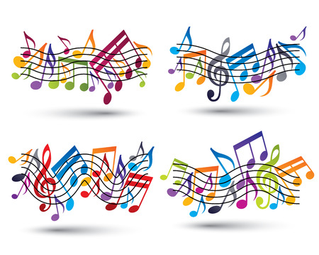 Musical Notes Staff Set Abstract Vector Symbols Of Music Theme