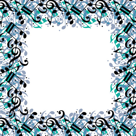Stylish frame made with music notes, vector background. Illustration