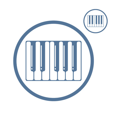 Piano keyboard vector icon isolated, single color vector music theme symbol
