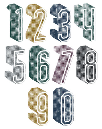 3d geometric numbers with halftone dots textures, stylish simple shaped numerals for design.