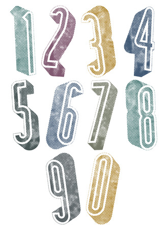 3d tall numbers with halftone dots textures, stylish simple shaped numerals for design. Vector
