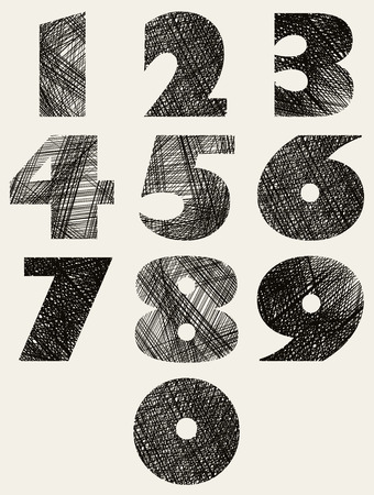 Hand drawn and sketched bold numbers set, vector sketch style. Vector