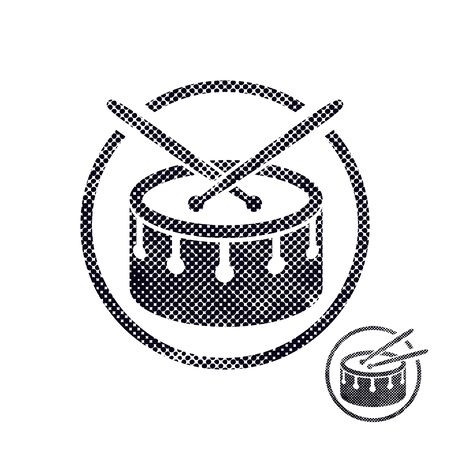snare: Drum snare icon with halftone dots print texture. Macro newspaper style vector symbol. Illustration