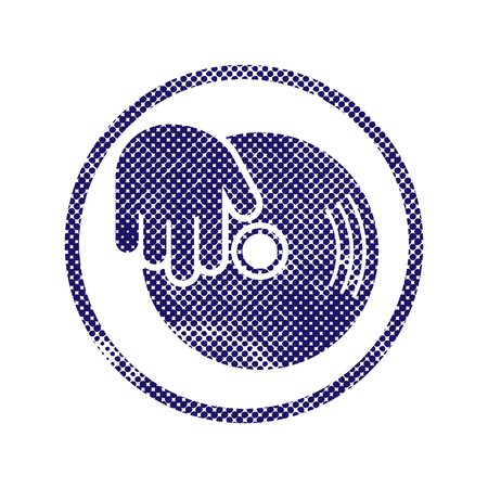 Vinyl and dj hand icon with halftone dots print texture. Macro newspaper style vector symbol. Vector