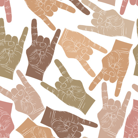 Rock hands seamless pattern, rock, metal, rock and roll music style vector background Vector