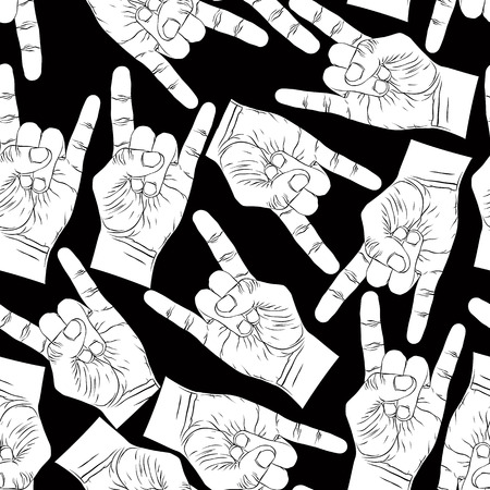Rock hands seamless pattern, rock, metal, rock and roll music style black and white vector background