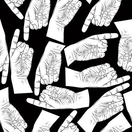 Finger pointing hands seamless pattern, black and white vector background Vector