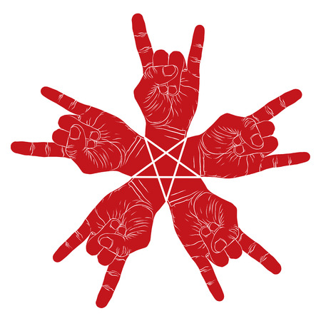 drawn metal: Five rock hands abstract symbol with five point star, black and white vector special emblem with human hands. Illustration
