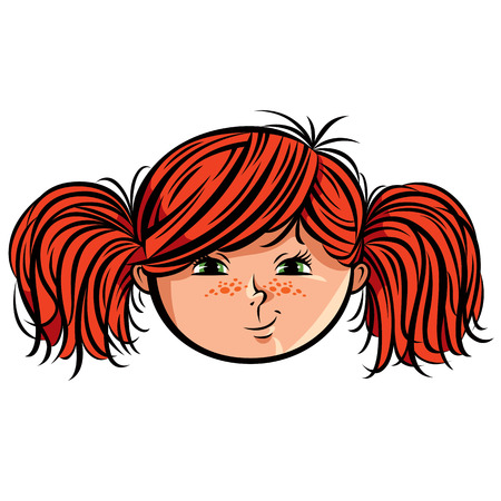 red head: Red head girl smiley, vector illustration.