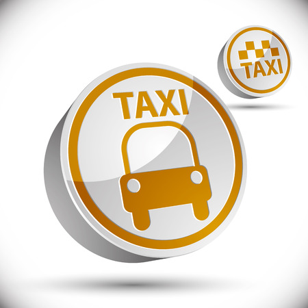 Taxi car icon isolated on white background, vector. Vector