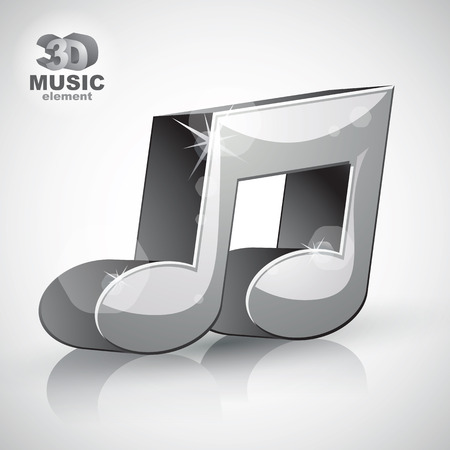 sonata: Trendy metallic musical note 3d modern style icon isolated, 3d music element