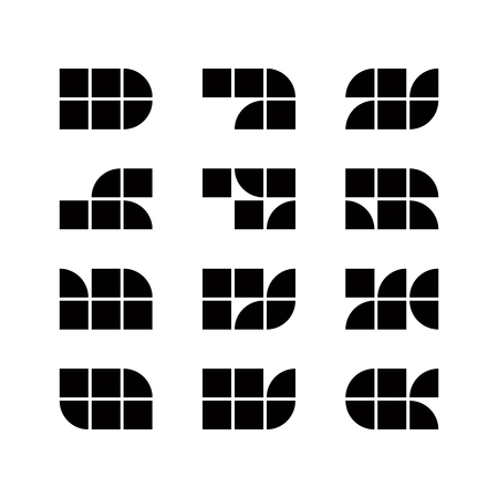 simplistic: Geometric simplistic icons set, vector abstract symbols.