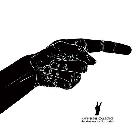 Finger pointing hand, detailed black and white vector illustration, hand sign. Vector