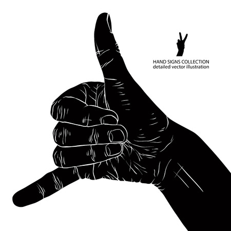 Call me hand sign, detailed black and white vector illustration. Vector