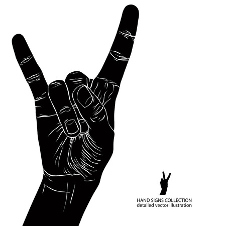 Rock on hand sign, rock n roll, hard rock, heavy metal, music, detailed black and white vector illustration. Vector