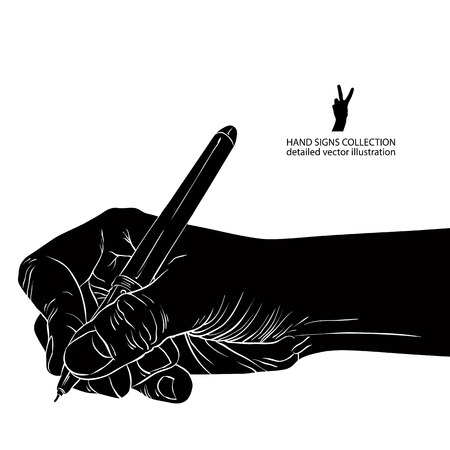 write: Hand writing with pen, detailed black and white vector illustration. Illustration