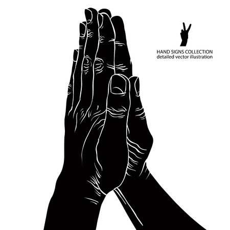 artistic jesus: Praying hands, detailed black and white vector illustration.