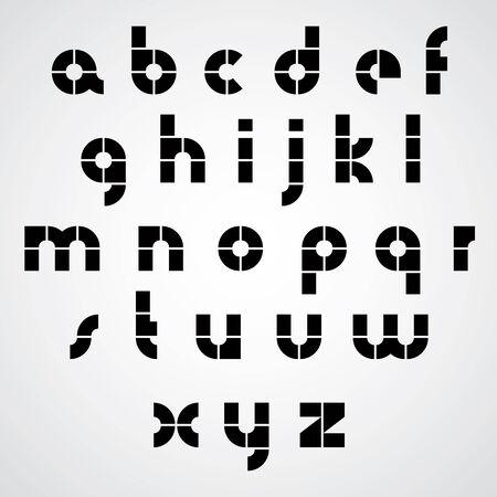 sans serif: Digital alphabet, modern style vector font. Black and white.