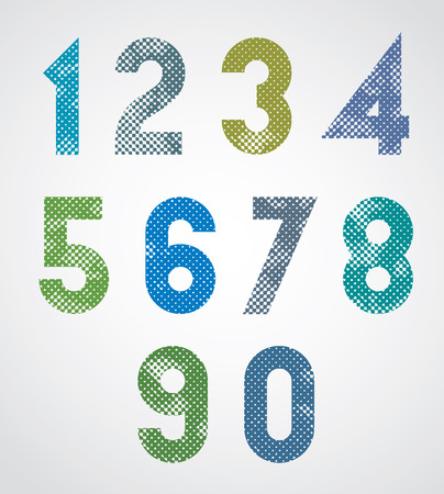 Halftone print dots textured geometric numbers, grunge aged macro style, bold poster numerals design. Vector. Vector