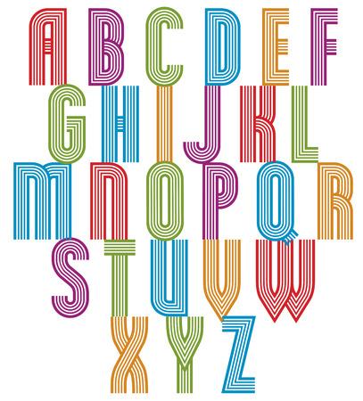 sans serif: Retro style stripe trendy font, geometric elegant letters vector alphabet. Uppercase letters set. Vector.
