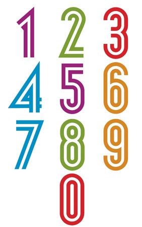Double stripes funky numbers set, retro trendy elegant retro style design. Vector.