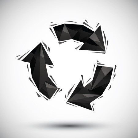 Black recycle geometric icon made in 3d modern style, best for use as symbol or design element. Vector