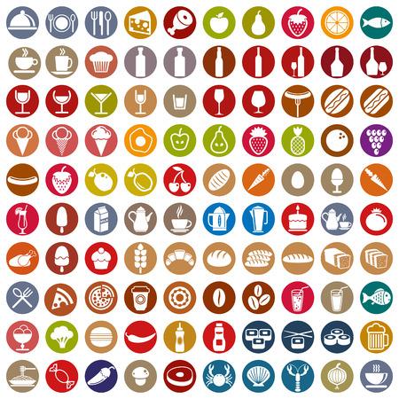 tomando alcohol: 100 de alimentos y bebidas iconos conjunto, recolecci�n de vectores de color.