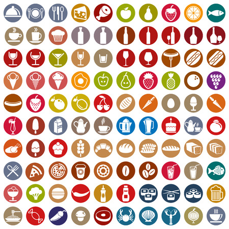 100 food and drink icons set, color vectors collection. Stock Illustratie