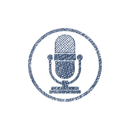 Retro microphone vector icon with hand drawn lines texture. Vector