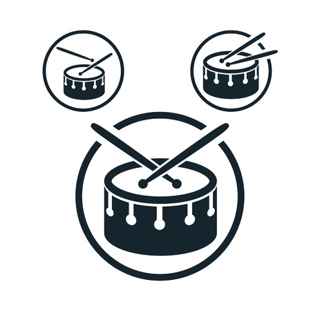 drum: Snare drum icon, single color vector music theme symbol   Illustration