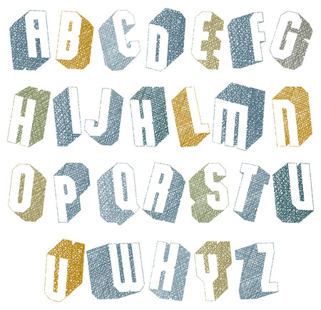 Retro style 3d font with hand drawn lines texture. Vector
