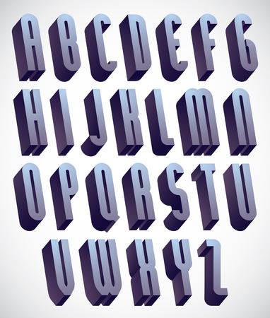 font alphabet: 3d tall and thin font, monochrome dimensional alphabet, geometric letters for design.