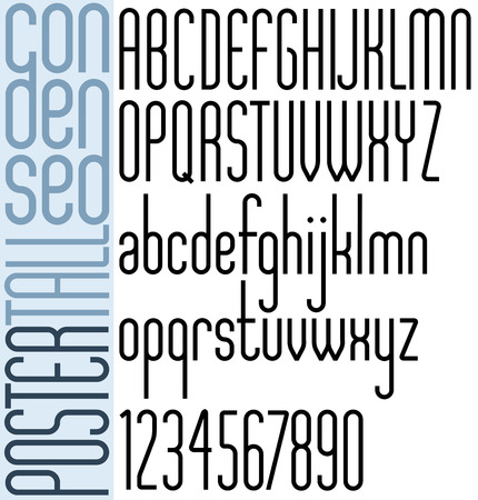 Poster Light Tall Condensed, classic style font with rounded corners, high geometric letters alphabet. Vector