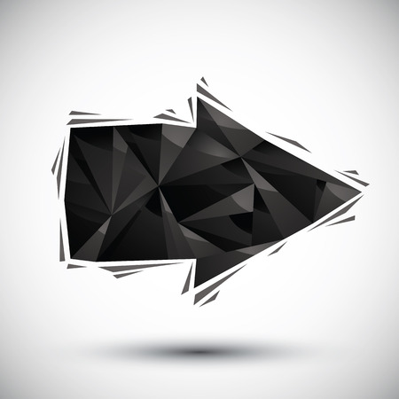Black arrow geometric icon made in 3d modern style Vector