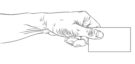 advertize: Hand giving business card, detailed black and white lined vector illustration, hand drawn.