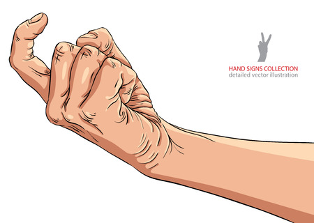 outstretched: Come on hand sign, detailed vector illustration.
