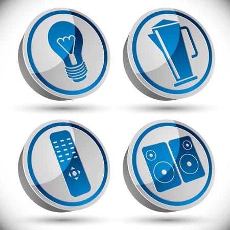 tv remote: Бытовая техника набор иконок, лампочка, чайник, телевизор пульт дистанционного управления, звуковые колонки.
